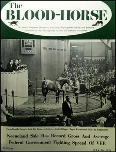 July 1971 BloodHorse magazine cover featured none other than Mr. Prospector as a yearling, selling for $ 600,000 at the Keeneland Sale.