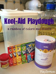 Make a rainbow of playdough out of Kool-Aid and household materials!