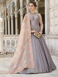 8618b2446e AF 127 Grey Color Silky Silk Fabric Embroidered Party Wedding Wear  Traditional Occasionally Fashion Attractive Look Anarkali Style Long Gown
