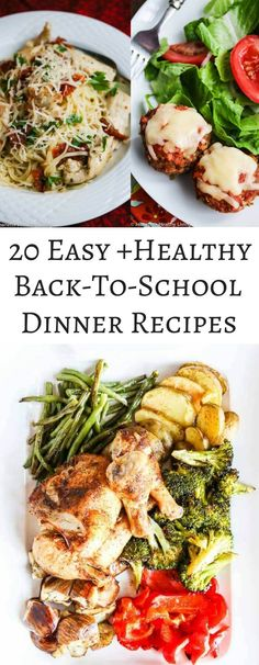 20 Easy Healthy Back-To-School Dinner Recipes - a collection of simple recipes that take less than 30 minutes to cook plus easy slow cooker recipes ~ http://jeanetteshealthyliving.com