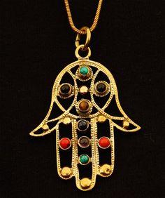 Hamsa Pendant Chain Necklace,Brass hamsa necklace