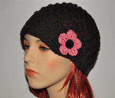 Newsboy crochet hat-Black