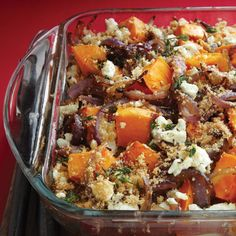 Roasted Sweet Potatoes, Caramelized Onions & Goat Cheese - Clean Eating http://www.cleaneatingmag.com/recipes/dinner-tonight/roasted-sweet-potatoes-caramelized-onions-goat-cheese/