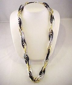 """Vtg Chunky Lightweight 3 Tone Gold Silver Black Rope Chain Necklace - 27"""" Around  $24.95"""