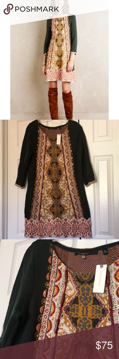 Knitted and Knotted green tapestry Lanka dress Gorgeous detail. Beaded and has beautiful embroidery! NWT. 36 inches long. Anthropologie Dresses Long Sleeve