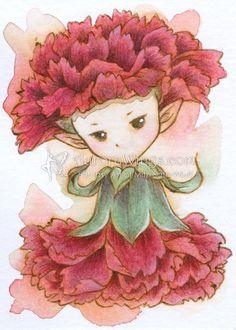 Sprite clavel original ACEO en tinta & acuarela - envío gratis a Estados Unidos - OOAK Fantasy flor hada ilustración - por Mitzi Sato-Wiuff