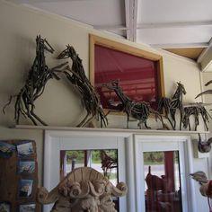 Miniature branch horse sculptures