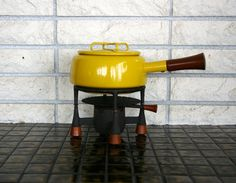Vintage Yellow Dansk IHQ Kobenstyle Fondue Pot and Stand