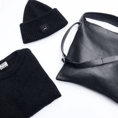 Acne Studios Mohair Sweater and beanie and NO/AN Studio Maj handbag. Mohair Sweater, Acne Studios, All Black, Autumn Fashion, Beanie, Street Style, Flat Lay, My Style, Sweaters