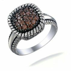 1/2 CT Chocolate CZ Champagne Ring In Sterling Silver (Available in Sizes 5 - 9)