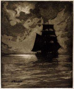 Ship in Moonlight, Albert Edelfelt, 1900-1905