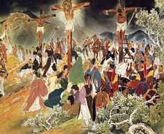 Chinese depiction of the Crucifixion of Jesus Christ between two thieves. Christian Paintings, Christian Art, Bible Pictures, Art Pictures, Art Pics, Catholic Art, Religious Art, Korean Painting, Life Of Christ