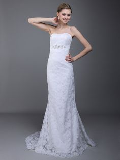 Allover Lace Mermaid Wedding Dress with Applique Chiffon Sash