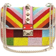 Pre-owned Valentino 1973 Beaded Small Lock Multi, Rainbow (red,... ($2,477) ❤ liked on Polyvore featuring bags, handbags, multi, orange purse, pre owned handbags, yellow purse, red shoulder bag and beaded handbag