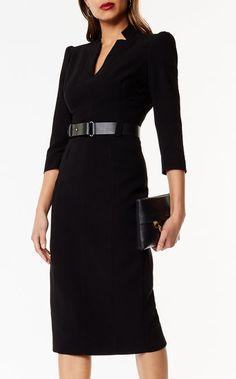 Karen Millen, Leather Belt Pencil Dress Black