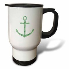 3dRose Mint Sea Horses nautical beach theme ocean art, Travel Mug, 14oz, Stainless Steel