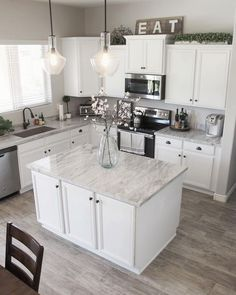 New kitchen worktopsNew kitchen countertops kitchencountertopsKitchen countertop design ideasNew kitchen countertops kitchencountertopsRefine + Define Kitchen Redo, Home Decor Kitchen, New Kitchen, Home Kitchens, Kitchen Dining, Kitchen Ideas, White Cabinet Kitchen, Kitchens With White Cabinets, White Cabinets White Countertops