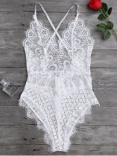 $14.74 Scaolloped Sheer Eyelash Lace Teddy Bodysuit - WHITE M - #Bodysuit #Eyelash #Lace #Scaolloped #sheer #Teddy #white