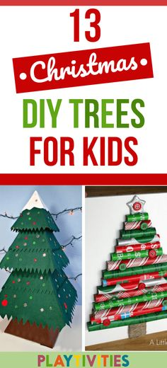 I've got you covered with 13 awesome DIY Christmas tree ideas. Simple and easy to make, won't cost you a dime and most importantly, your youngest ones will be enjoying these DIY Christmas trees very much! Cardboard Christmas Tree, Homemade Christmas Tree, Christmas Decorations For Kids, Kids Christmas Ornaments, Alternative Christmas Tree, Holiday Crafts For Kids, Christmas Mood, Easy Crafts For Kids, Christmas Ideas
