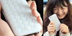 Bubble Wrap iPhone Case. That look on her face...hilarious!