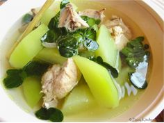 TINOLA is a ginger and onion based soup with chicken as the usual main ingredient. It is an authentic Filipino main dish and best complimented with green papaya wedges and chili pepper leaves.