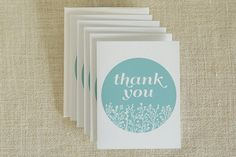 Floral Thank You Cards by FMCstudio. Set of 5.