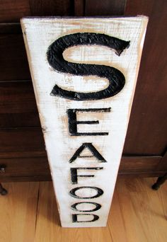Seafood Sign - Carved in a Cypress Board Rustic Distressed Fishmonger Shop Advertisement Farmhouse Style Restaurant Fish Wooden Wood by AmericanaSigns on Etsy