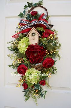Timeless front door wreath swag. http://www.timelessfloralboutique.com/newly-listed/