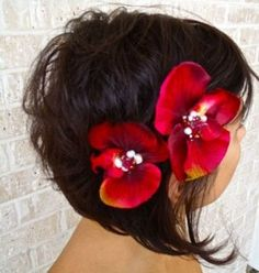 Red orchid hair clips (Red-I by Chelsea) - pretty!
