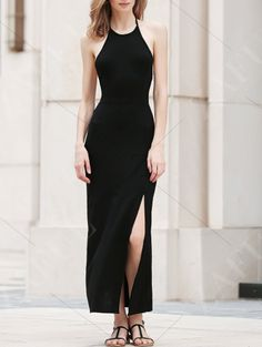 Black Side Slit Halter Maxi Dress BLACK: Maxi Dresses | ZAFUL