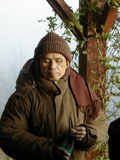 Zen Master Thich Nhat Hanh on the porch in Plum Village, France. Please send Thay your good energy as he is trying to recover from a brain hemorrhage right now.