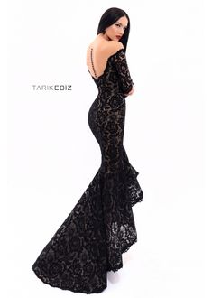 Tarik Ediz - 93310 Long Sleeve Off-Shoulder Detail Lace High-Low Gown – Couture Candy Long Mermaid Dress, Mermaid Prom Dresses, Bridesmaid Dresses, Mermaid Skirt, Dinner Gowns, Evening Gowns, Black Wedding Dresses, Formal Dresses, Black Gowns