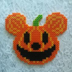Large Halloween Perler Bead Mickey Pumpkin by TheSweetMouse