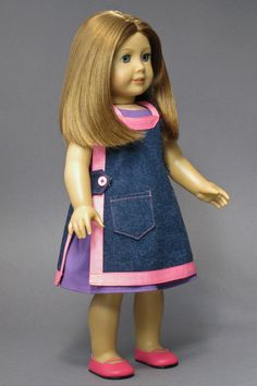 """American Girl Doll Clothes ♦ Pinafore and Sundress made from patterns in """"The Mary Frances Sewing Book 100th Anniversary Edition"""". http://amazon.com/dp/1937564010/"""