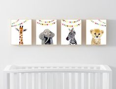 Baby animals : zebra, giraffe, elephant, cheetah  Lets make your little ones room warm and enjoyable!  This baby animal art prints collection features a set of 4 prints from my watercolor art collection. This set includes portraits of a zebra, elephant, and giraffeand cheetah.  If, however, youd like to swap any of them for a different piece in my shop, please give me a notice about which baby animals you want to swap it.  Materials: Printed on beautiful high quality, archival and acid free…