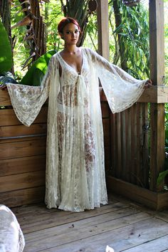 Bridal Robe Wedding Lingerie Ivory White Lace Robe Bridal Sleepwear Angel Sleeve Boudoir Trousseau Sarafina Dreams Bridal