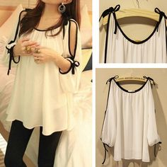 2013 New arrive Chiffon blouses embroidery tops sexy shirts for women Plus size summer batwing ruffled the hollow US $13.80