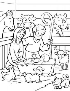 Nativity Scene Coloring Page....link is no longer active but I just copied the image into a word document and enlarged it then printed it. Cute page!