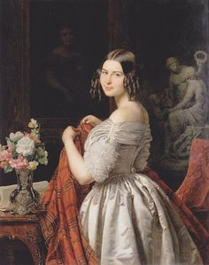 Young lady at her toilette (1840). Ferdinand Georg Waldmüller (Austrian, 1793–1865). Oil on panel. Wien Museum Karlsplatz. One of the leading Austrian painters of the Biedermeier period. He studied at the Vienna Academy. He copied pictures of old masters, and painted portraits, genre subjects, and still-life, but is perhaps best known for his landscapes. He was second to none in depicting nature in delicate colours. His many genre-pictures are also significant.: