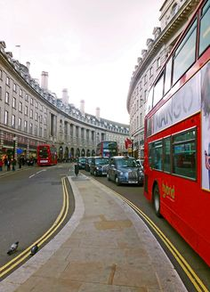 London- the magnificent sweeping curve of Regent Street before it straightens directly northwards to Oxford Circus.