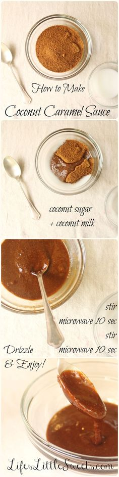 Coconut Caramel Sauce (DF+GF+SF+V). Perfect for drizzling over quick breads, cakes, muffins, scones, pancakes, waffles or ice cream. It's vegan, has only 2-3 ingredients, takes less than 5 minutes to make and is meant to be drizzled, drizzled, drizzled!