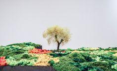 """""""[...] La intervención de Esther Pizarro explora este microcosmos sobre el mapa de Japón, que se aborda como un país de islas o islado, respetando la norma según la cual el shakkei, o enmarcado es la primera condición para que el jardín exista como tal."""" Menene Gras Balaguer, comisaria. Fuente: Dossier #ExposicionesUGR. #UnJardinJapones. #EstherPizarro. Foto: Lidia Fernández."""