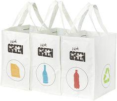 3er Set Recycling Müll Sortiertaschen Mülltrennsystem