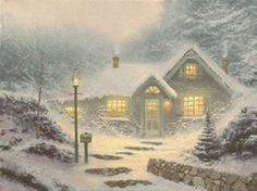 "Home for the Evening [1991] © Thomas Kinkade ""The title for this tiny painting was originally Cookies Baking. As I worked on the piece, I could almost smell the sweet aroma of homemade cookies coming from inside the snow covered cottage. By the way, the number ""5282"" that appears on the mailbox in front of the cottage is a tribute to one of my favorite dates, May 2, 1982 — the day my wife, Nanette, and I were married."""