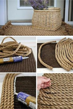 Here are 35 very easy DIY rug ideas with tutorials for you to start making your own rug right now. The majority of them don't even require sewing. Check these out! House design 35 Easy DIY Rug Ideas You Can Make Right Now Rope Crafts, Diy Home Crafts, Diy Home Decor, Diy Decoration, Diy Para A Casa, Rope Rug, Creation Deco, Ideias Diy, Rope Basket