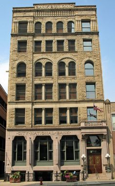 The City National Bank Building, built in the 1880s, is a six-story masonry Richardsonian Romanesque Revival style building. Canton, OH