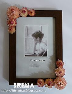 frame decorated with dried flowers