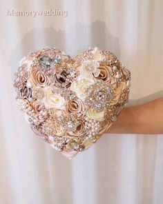 Heart shaped BROOCH BOUQUET, champagne rose gold wedding bridal broach boquet Wedding luxury bridal accessories, jewelry and wedding bouquets jewelry videos Heart shaped BROOCH BOUQUET, champagne rose gold wedding bridal broach boquet Bridesmaid Jewelry, Wedding Jewelry, Bridesmaid Gifts, Wedding Bouquets, Rose Gold Wedding Dress, Purple And Gold Wedding, On Your Wedding Day, Or Rose, Luxury Wedding