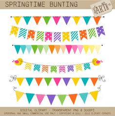 Digital Clipart - Party Flags / Bunting Springtime (DC-9387) - Instant Download