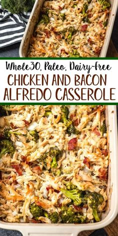 Chicken & Bacon Alfredo Casserole: Whole30, Paleo, Dairy-Free, GF - Whole Kitchen Sink